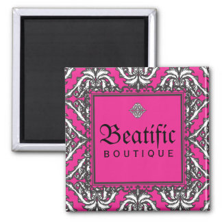Prominent Pink Damask with Decorative Frame 2 Inch Square Magnet