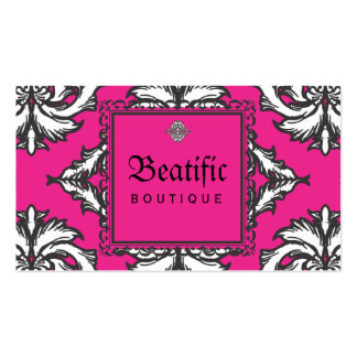 Prominent Pink Damask with Decorative Frame Double-Sided Standard Business Cards (Pack Of 100)