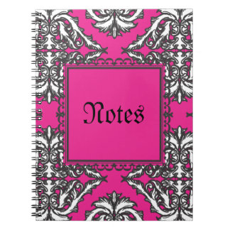 Prominent Pink Damask with Decorative Frame Notebooks