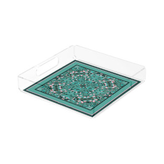 Promise Garden Teal and Pink Serving Tray