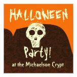 PROMO1 Halloween Party Skull Orange Brown V3 Invite