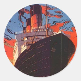 Promo del viaje de las vacaciones del barco de etiqueta redonda