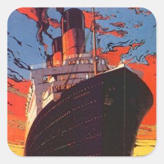 Promo del viaje de las vacaciones del barco de pegatina cuadrada