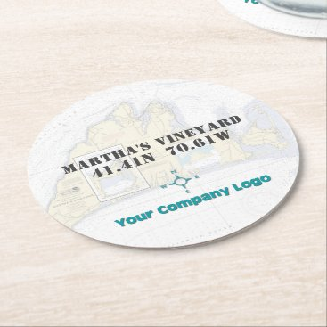 Professional Business Promo Logo Latitude Longitude Martha's Vineyard Round Paper Coaster