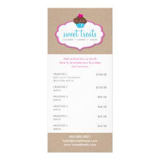 PROMO PRICE SERVICES LIST cupcake bakery kraft Rack Card