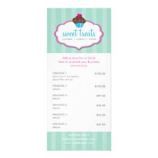 PROMO PRICE SERVICES LIST cupcake bakery mint pink Rack Card