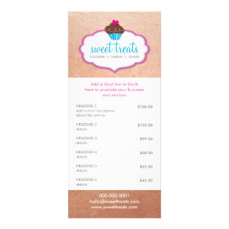 PROMO PRICE SERVICES LIST cupcake bakery rose gold Rack Card