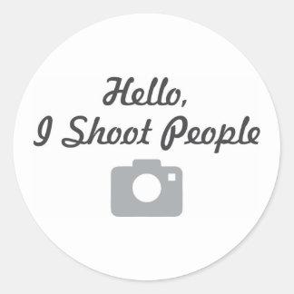 Promoción del fotógrafo hola, tiro a gente pegatina redonda