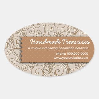 Promocional hecho a mano floral de los Crafters Pegatina Ovalada