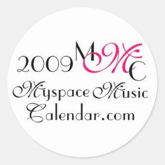 Promos de MyspaceMusicCalendar_2009 MMC Pegatina Redonda