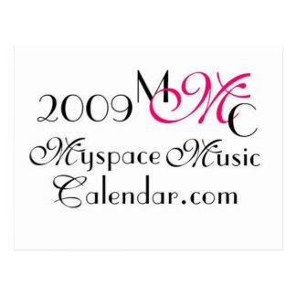 Promos de MyspaceMusicCalendar_2009 MMC Tarjeta Postal