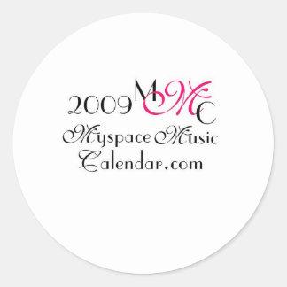 Promos de MyspaceMusicCalendar.Com 2009 MMC Pegatinas Redondas