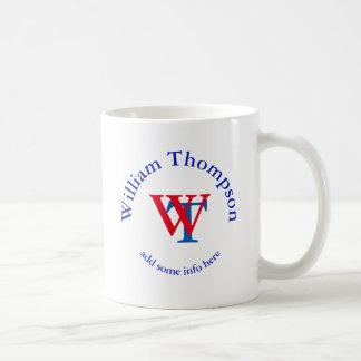 promote yourself | logo | monogram red/blue coffee mug