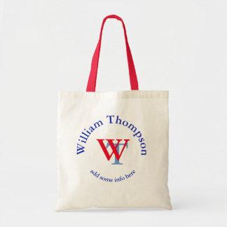 promote yourself   logo   monogram red/blue tote bag