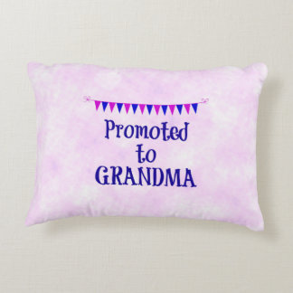 """Promoted to Grandma"" pink bokeh background Decorative Pillow"