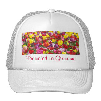 Promoted to Grandma sports hats Tulip Flowers