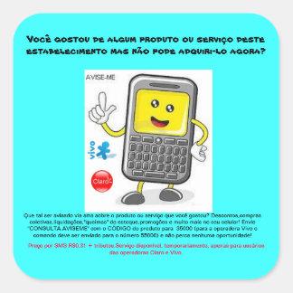promotional adhesive aviseme square sticker