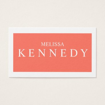 Professional Business Promotional Business Cards Coral White Font
