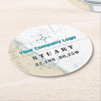 Promotional Logo Latitude Longitude FLORIDA Chart Round Paper Coaster
