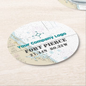 Professional Business Promotional Logo Latitude Longitude FLORIDA Chart Round Paper Coaster