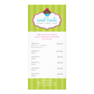 PROMOTIONAL PRICE SERVICES LIST cupcake bakery Rack Card