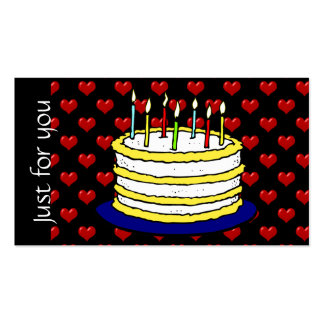 Promotional Red Hearts Birthday Cake Gift Cards Business Card