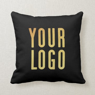 Professional Business Promotional Your Company or Event Logo Black Throw Pillow