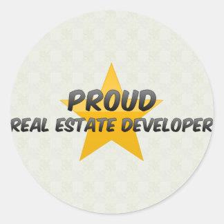Promotor inmobiliario orgulloso pegatina redonda