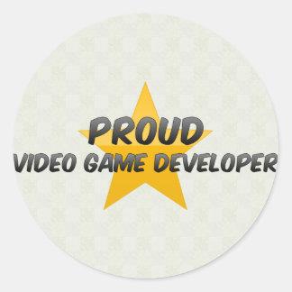 Promotor orgulloso del videojuego pegatina redonda
