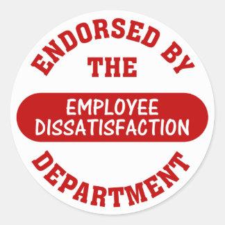 Promover el descontento del empleado y trabajos pegatina redonda