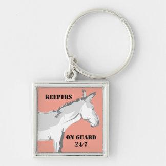 Promueva los burros que el deber de guardia llavero cuadrado plateado