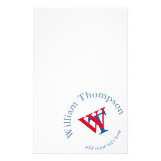 promuévase rojo/azul del monograma del logotipo el  papeleria