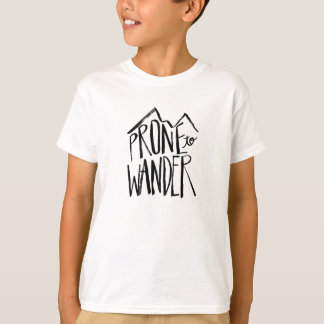 Prone To Wander | Black Brush Script style T-Shirt