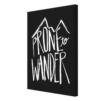 Prone To Wander   White Brush Script style Canvas Print