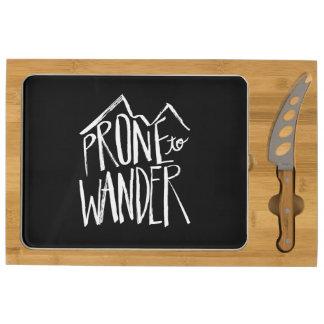 Prone To Wander | White Brush Script style Rectangular Cheese Board