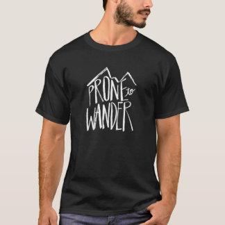 Prone To Wander   White Brush Script style T-Shirt