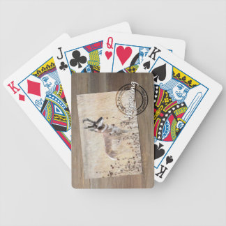 Pronghorn Antelope Photo on Wood - Wyoming WY USA Playing Cards