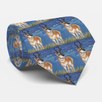 Pronghorn Antelope Watching Storm Wildlife Art Neck Tie