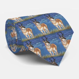 Pronghorn Antelope Watching Storm Wildlife Art Neck Tie