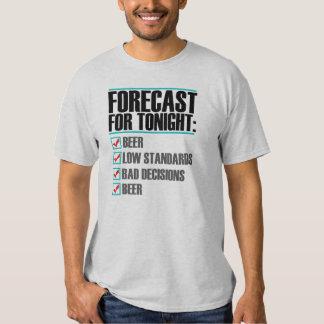 Pronóstico para la esta noche - camiseta divertida playera