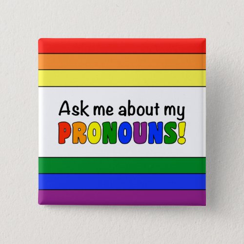Pronouns Button Rainbow