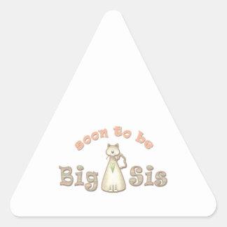Pronto para ser gato de la hermana grande pegatina triangular