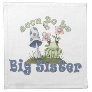 Pronto para ser rana linda de la hermana grande servilletas de papel
