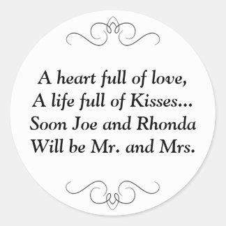 Pronto Sr. y señora Round Sticker Pegatina Redonda