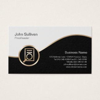 Proofreader Business Card Magnifiy Document Icon