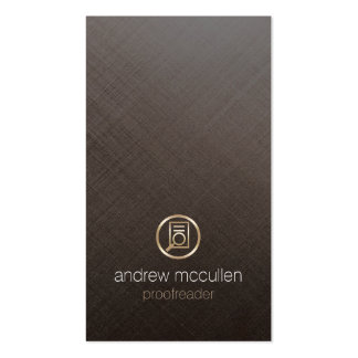 Proofreader Glass Paper Icon Brushed Metal Business Card
