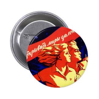 Propaganda comunista del espacio del vintage ruso pin redondo 5 cm