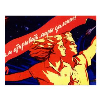 Propaganda comunista del espacio del vintage ruso tarjetas postales