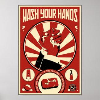 Propaganda de la oficina: Lávese las manos Impresiones