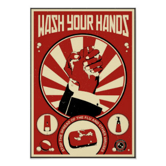 Propaganda de la oficina: Lávese las manos Póster